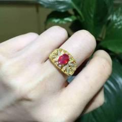 爱佳珠宝  纯天然松加红宝石戒指
