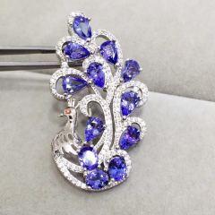 爱佳珠宝   银镶天然坦桑石吊坠 胸针   石尺寸45-46