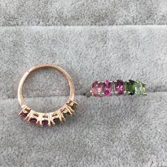 爱佳珠宝  925银镀玫瑰金镶天然糖果碧玺戒指!主石尺寸:3x5!