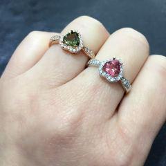 爱佳珠宝   心6mm天然碧玺戒指,送心爱的她!
