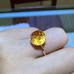 愛佳珠寶   【天然黃晶系列】 水晶戒指 璀璨煙花18K玫瑰金鑲嵌 天然黃晶 煙花切工