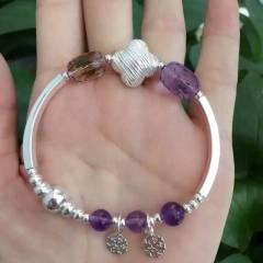 愛佳珠寶  新款925手工銀、天然紫黃晶創意手鏈 全部925銀