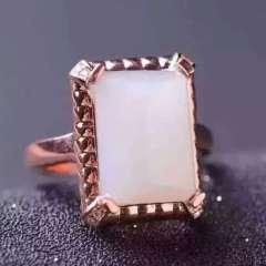 爱佳珠宝  公主方新疆和田白玉戒指,10*14,羊脂白玉,925银电镀白,玫瑰金两色齐全,精工,特惠