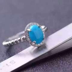 爱佳龙8国际娱乐游戏  天然高瓷高蓝美国松女戒  戒指,6*8,精工  特价