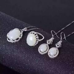 独家新款,925银玫瑰金色白金色两色可选,天然和田羊脂白玉,美的如肤如玉!,超低价 一套送链。