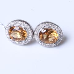 新玉珠宝 精美时尚饰品 s925银黄水晶耳钉 宝石尺寸7×9