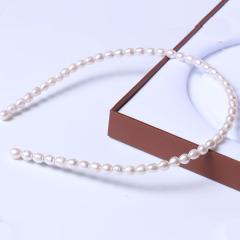 蘇情珠寶行 精美時尚珍珠發飾品發箍 米形珍珠發箍 5-6mm