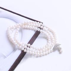 珍印象品牌珠宝 长款可调节毛衣链 7-8mm近圆珠淡水珠 925银搭扣