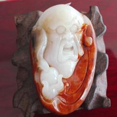 和田玉籽料手把件红沁皮籽料和田玉罗汉三色把玩件带皮籽料原石