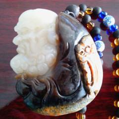 和田玉籽料手把件伏虎罗汉把玩件挂件三色新疆和田玉带皮籽料原石