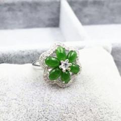 天然和田碧玉冰种翠绿玉石蛋面925银饰镶嵌金玉石戒指女戒