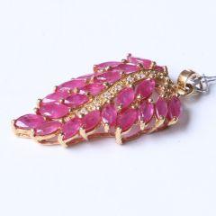 金鸿珠宝 18k黄金天然红宝石吊坠  红宝石