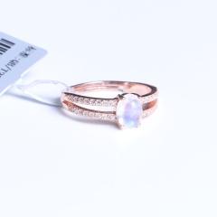 蓝钻珠宝 月光石戒指 925银 5x7