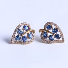 益兴珠宝  18k金蓝宝石耳钉  3*3   蓝宝石