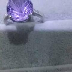 源源珠宝  天然紫晶烟花款戒指