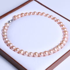 御鑫骋珠宝 粉彩精美珍珠项链 淡水珍珠11-12mm 近圆