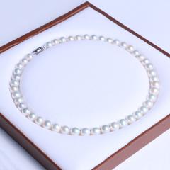御鑫骋珠宝 白亮精美珍珠项链 淡水珍珠9-10mm 正圆