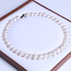 御鑫骋珠宝 白亮混彩精美珍珠项链 淡水珍珠12-13mm 扁圆