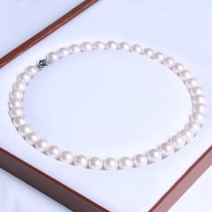 御鑫骋珠宝 圆珍珠精美珍珠项链 淡水珍珠11-12mm 正圆微暇