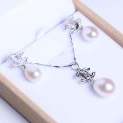御鑫骋珠宝 精美珍珠吊坠 耳坠套装 白色水滴形淡水珍珠10-11mm  无暇