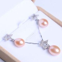 御鑫骋珠宝 精美珍珠吊坠 耳坠套装 星星形银饰 粉色无暇水滴形淡水珍珠10-11mm