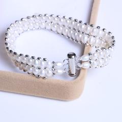 御鑫骋珠宝 时尚饰品 精美双排霸王珠珍珠手链 白色微暇米粒形淡水珠 4-5mm