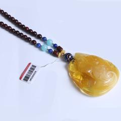 鑫亚珠宝 天然蜜蜡配小叶紫檀链 重量25.60g 黄金珠宝玉器