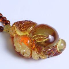 鑫亚珠宝 天然蜜蜡葫芦配琥珀链 重量40.70g 黄金珠宝玉器