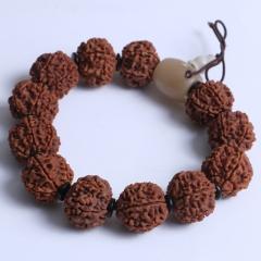 菩提居珠宝行 精美时尚手串 尼泊尔六瓣金刚 19mm 12颗配椰壳片 牛角三通