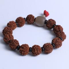 菩提居珠宝行 精美时尚手串 尼泊尔六瓣金刚  20mm 13颗配椰壳片牛角三通 朱砂小象