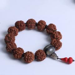 菩提居珠宝行 精美时尚手串 尼泊尔五瓣金刚  19mm 12颗配椰壳片牛角三通 朱砂小葫芦