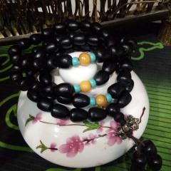 菩提居珠寶行  水滴黑檀 108顆    尺寸9#0.75