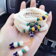 菩提居珠宝行天然菩提根手串,搭配考蓝配饰,优化绿松石 白白嫩嫩 尺寸 8*6