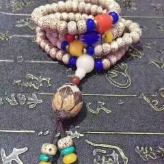 菩提居珠宝行  海南星月菩提子 搭配白菩提根莲花 琉璃珠 红玛瑙珠  菩提手串 尺寸 8*6