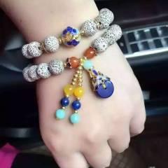 菩提居珠宝行  天然圆10星月菩提手串,两圈款,搭配纯银烤蓝配饰 24k镀黄纯银珠,