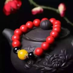 菩提居珠宝行  秒杀价 天然朱砂单圈手链。珠径10mm!!搭配二代蜜蜡!颜色靓丽!朱砂原石可以入药,