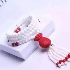 菩提居珠宝行  台湾朱砂毛衣链 福袋款➕白砗磲珠链 简单大方 佩戴增气质 6mm 特价