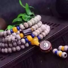 6*8 星月菩提太極八卦款A+高密順白搭配瑪瑙桶珠、黃玉石藍礦石隔珠 黃玉石三通、金絲竹太極八卦小鼓