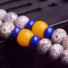 7*9 星月菩提太极八卦款A+高密顺白搭配玛瑙桶珠、黄玉石蓝矿石隔珠 黄玉石三通、金丝竹太极八卦小鼓