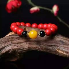 菩提居珠宝行  秒杀价  天然朱砂单圈手链。珠径10mm  搭配二代蜜蜡!