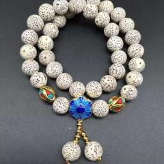 菩提居珠宝行  新款天然星月菩提子手链 10mm高密、正月圆珠配精致景泰蓝