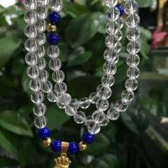 菩提居珠寶行  W新款純天然白水晶手鏈 晶體超好的6mm圓珠?藍礦石?歐幣金