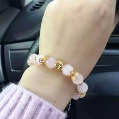 菩提居珠宝行   粉水晶手链手串超美欧币金花转运珠搭配,招桃花旺运不二选择