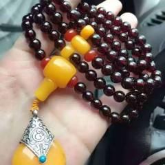 菩提居珠寶行  天然圓7酒紅石榴石,搭配瑪瑙,108顆,特制款,兩用,裙鏈,手鏈,隨心搭配,?