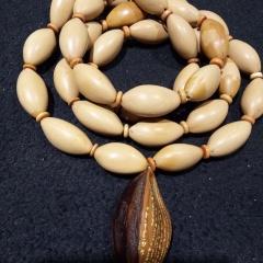 菩提居珠宝行 橄榄核素珠项链毛衣链,配饰椰壳,大橄榄核雕刻金刚经,大气款