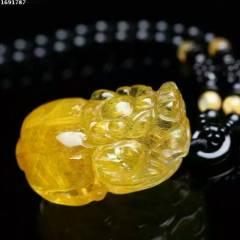 菩提居珠宝行  ️特惠    美货 金发晶貔貅吊坠️发丝一顺 颜色金黄色,水晶吊坠