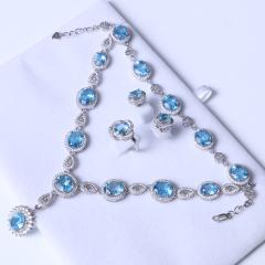 鑫鼎珠宝行 时尚饰品 s925银镶托帕石精美套装 8×10