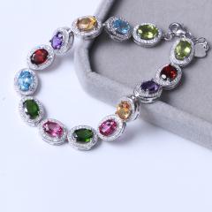 鑫鼎珠宝行 时尚饰品 s925银镶 精美彩色宝石手链手排 5×7