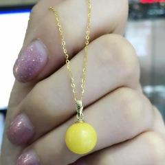 鑫鼎珠宝行  正品新款18k金镶天然蜜蜡圆珠吊坠圆11mm珠子