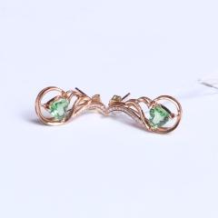 聖金珠宝 心 6 沙弗莱 18K玫瑰金配钻石 沙弗莱耳钉